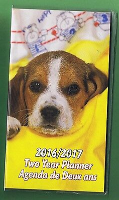 Puppy Dog  2016-2017 - 2 Year Pocket Calendar Planner Agenda Appointment Book *y