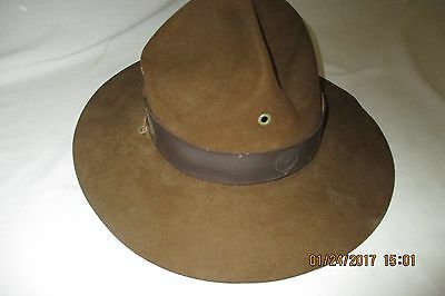 Early Stetson Boy Scouts BSA Scout Master Brown Felt Hat- 7.25- Band w/Strap