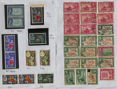 Fiji 2 Pages of Miscellaneous MNH / MH / Used GVI, Early QEII CV $53+