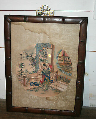 ANTIQUE Chinese Painting on Silk FIGURAL LANDSCAPE SIGNED BAMBOO WOOD FRAME #3