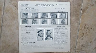 Unusual 1938 FBI WANTED POSTER, Impersonation, Lionsdale, R.I., Police, Gangster