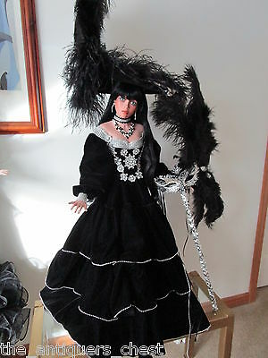 "BLACK VELVET MASQUERADE doll by Rustie, 34"" ARTIST ORIGINAL #1, ONE-OF-A-KIND"