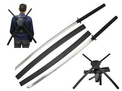 """41.75"""" Deadpool Dual Two Ninja Swords with X Back Harness Carrying Scabbard"""