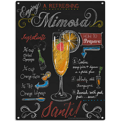 Mimosa Recipe Chalkboard Style Sign Vintage Style Bar Decor 12 x 16