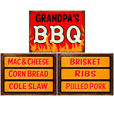 Grandpas BBQ Southern Sides Menu Wall Decal Set 12 x 16 Kitchen Decor