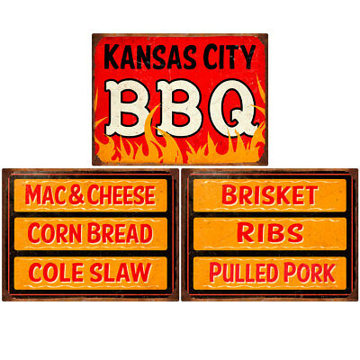 Kansas City BBQ Southern Sides Menu Wall Decal Set 12 x 16 Kitchen Decor