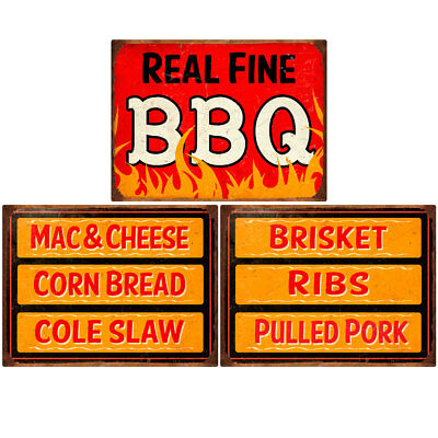 Real Fine BBQ Southern Sides Menu Wall Decal Set 12 x 16 Kitchen Decor
