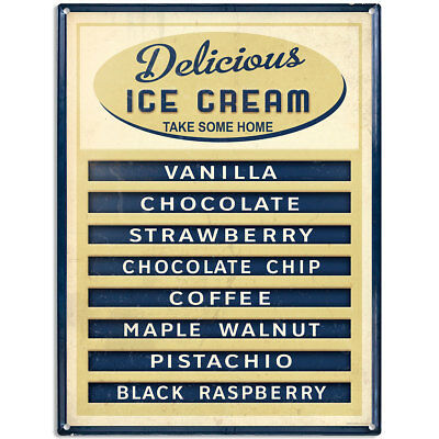 Delicious Ice Cream Parlor Menu Distressed Metal Sign Reproduction 12 x 16