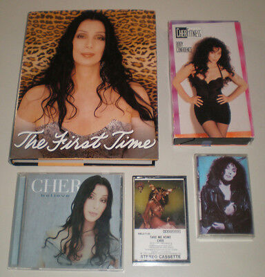 CHER Believe CD, The FIRST TIME BOOK, 2 ALBUMS and 1 EXERCISE TAPE lot