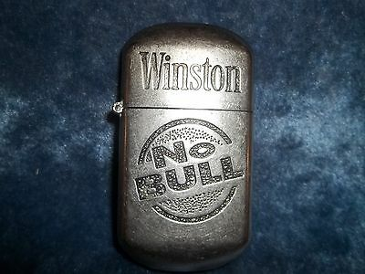 Vintage Winston NO BULL Cigarette Advertising Pocket Lighter Silver Tone Pewter