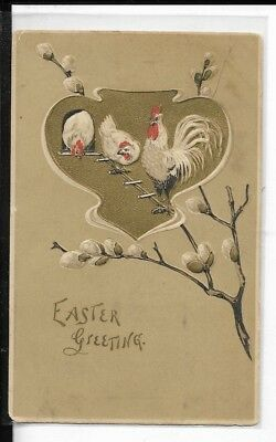 chicken themed easter greeting postcard dated1910