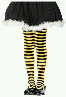 Black Yellow Striped Opaque Costume Tights Pantyhose Dance Girls Tween Size 8-10