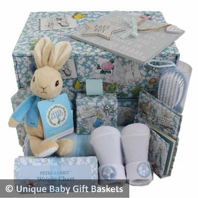 Packed Peter Rabbit 2 drawer treasure/memory box boy baby gift basket/hamper