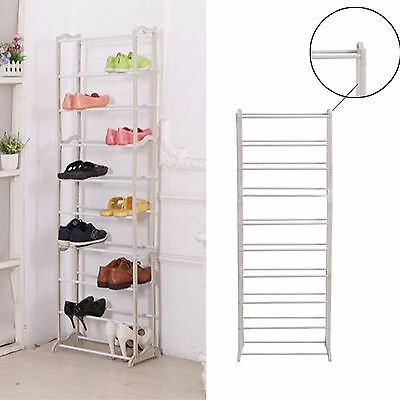White Shoes Storage Rack Stand Holder Closet Organizer Tower 10 Tier 30 Pairs