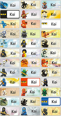 Personalized Waterproof Name labels stickers, 36 Ninjago , day care, school,