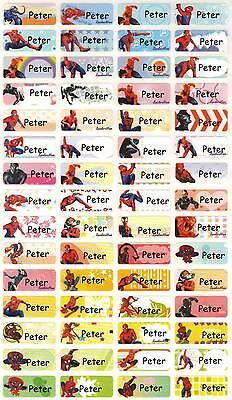 Personalized Waterproof Name label sticker, Spiderman Qty64 Party favor Small