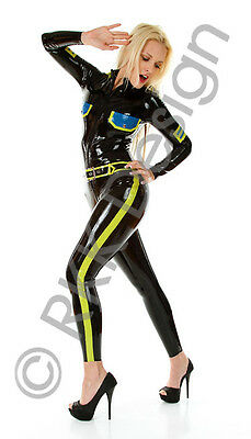 MEDIUM BLACK *HOT* Officer Style Latex Rubber Catsuit Second Skin Rubber