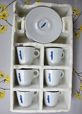 6 x LAVAZZA espresso coffee CUPS WITH SAUCERS. Porcelain. MADE IN ITALY. 5.5 cm