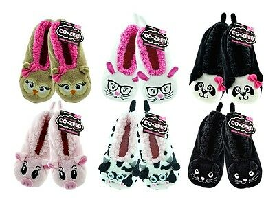 Girls Boys Childrens Super Soft Co-Zees Sherpa Novelty 3D Slippers size uk 4-6