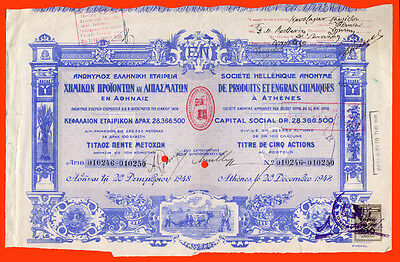 #2873 Greece 1948. Certificate 5 shares limited company.