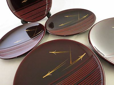 Japanese wooden lacquer ware lacquered plate Dessert plate 5 piece