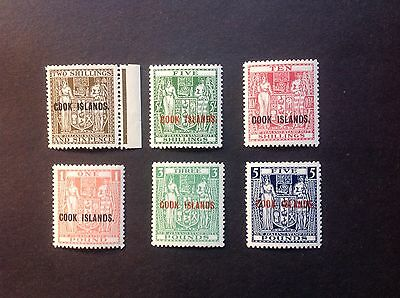 COOK ISLANDS 1943-54 Postal Fiscal set of 6 mint