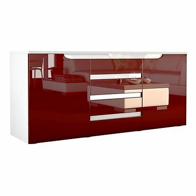 Display Sideboard 2 doors 4 drawers Buffet Chest of Drawers High Gloss Furniture