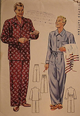 Vintage 1940s Pajamas Sewing Pattern McCall # 4476 Size Medium