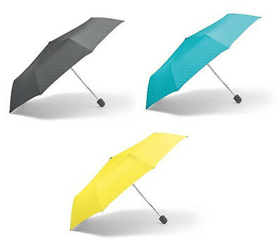 Mini Cooper Compact Folding Retractable Umbrella Grey Aqua Lemon Mini Wings Logo