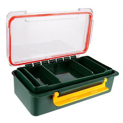 Waterproof Portable 2 Layers Army Green Plastic Fishing Tackle Box Case