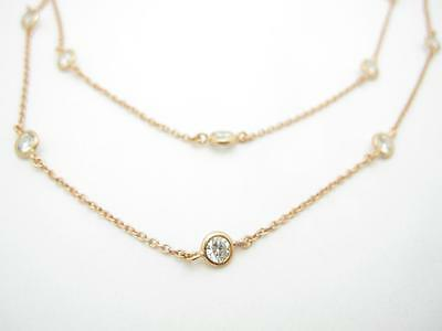 "18k Rose Gold Sterling Silver Diamond Set White Sapphire Bezel Long 36"" Necklace"