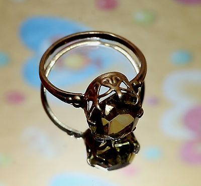 Marvelous Citrine stone Royal Ring Silver 875 USSR Antique