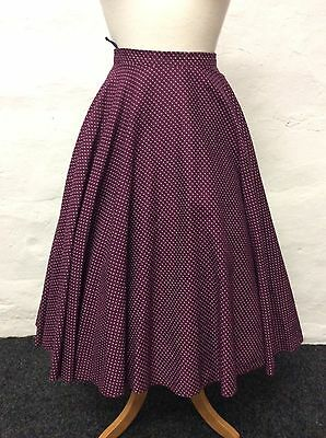 """VINTAGE PURPLE & WHITE FLORAL FULL CIRCLE SKIRT 80s 50s SWING (sk7) SIZE 8 W27"""""""