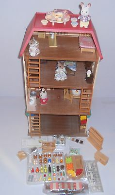 Sylvanian Families Cedar Terrace &  Supermarket Plus Figures & Furniture No Box.