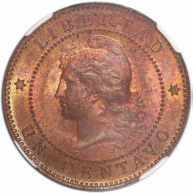 Argentina, copper 1 centavo 1885 encapsulated NGC MS 64 RB, tied for finest know