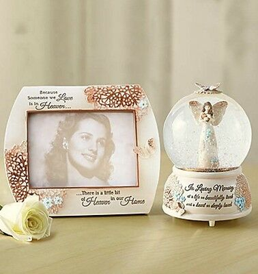 In Loving Memory Musical Angel Snow Globe And Picture Frame