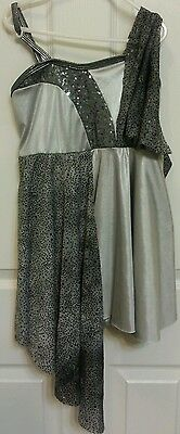 Curtain call dance costume silver dress size child large glitter sequin shorts