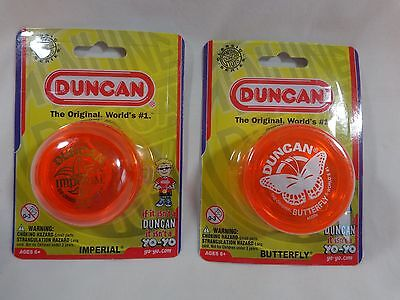 DUNCAN YO YOs Lot of 2 ORANGE One Butterfly One Imperial 2015 Ages 6 Up NEW