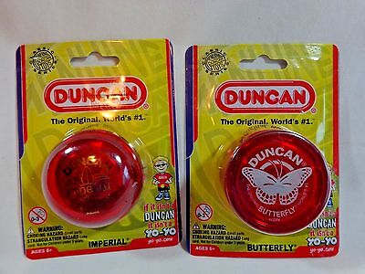 DUNCAN YO YOs Lot of 2 RED One Butterfly One Imperial 2015 Ages 6 Up NEW