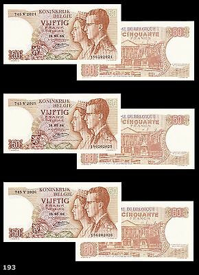 1966 Belgium 50 Francs (3 Notes), UNC Sequential numbering!! OUTSTANDING