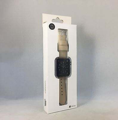 Monowear Watch Band for Apple Watch 38MM - Creme Leather / Silver - MWLTBE20MTSI