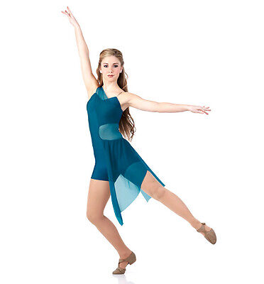 The Journey Dance Costume Teal Unitard Attached Skirt Lyrical Ballet Clearance