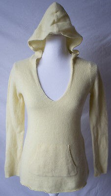Pea in the Pod Maternity Medium/Large Womens 100% Cashmere Yellow Hoodie Sweater