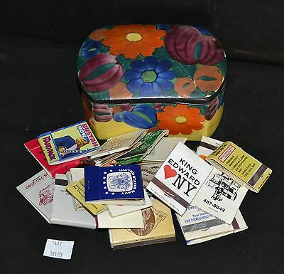 ThriftCHI ~ Czech Ceramic Box w Advertising Match Books NY, NJ