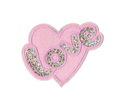 Heart - Love - Valentines Day - Pink W/Silver Sequins - Iron On Applique Patch