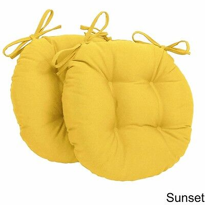 Sunset Chair Cushion Twill 16 in. Round Set of Two Cushions Plush w/Ties Yellow