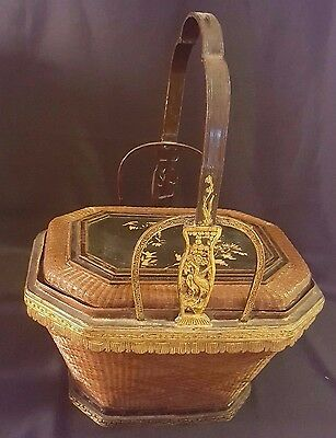 "Vintage Chinese Wedding Basket Single Tier 16 1/2"" T X 12""w X 6"" D"