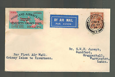 1934 England First Flight Cover Kirkwall Inverness Orkney Highland Airways FFC