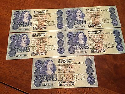 Lot of 5 pcs South Africa 2 Rand. 1981 CIRCULATED Banknote