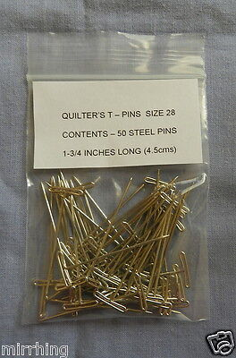 Quilter's T - Pins,  Size #28, 1-3/4 inches long (4.5cms)